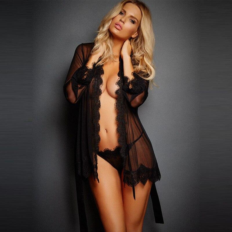 Sexy Silk Robe Women Nightwear Transparent Underwear G-string A Set Sleepwear Bath Robe Pajamas Sexy Lingerie Nightgown Black