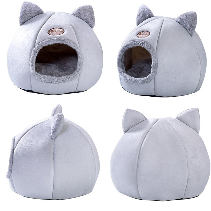 Plush Cat House Self Warming Indoor Cats Dog Bed With Removable Mattress Puppy Kitten Hamster Cage Cave Soft Lounger Sofas Dearypets