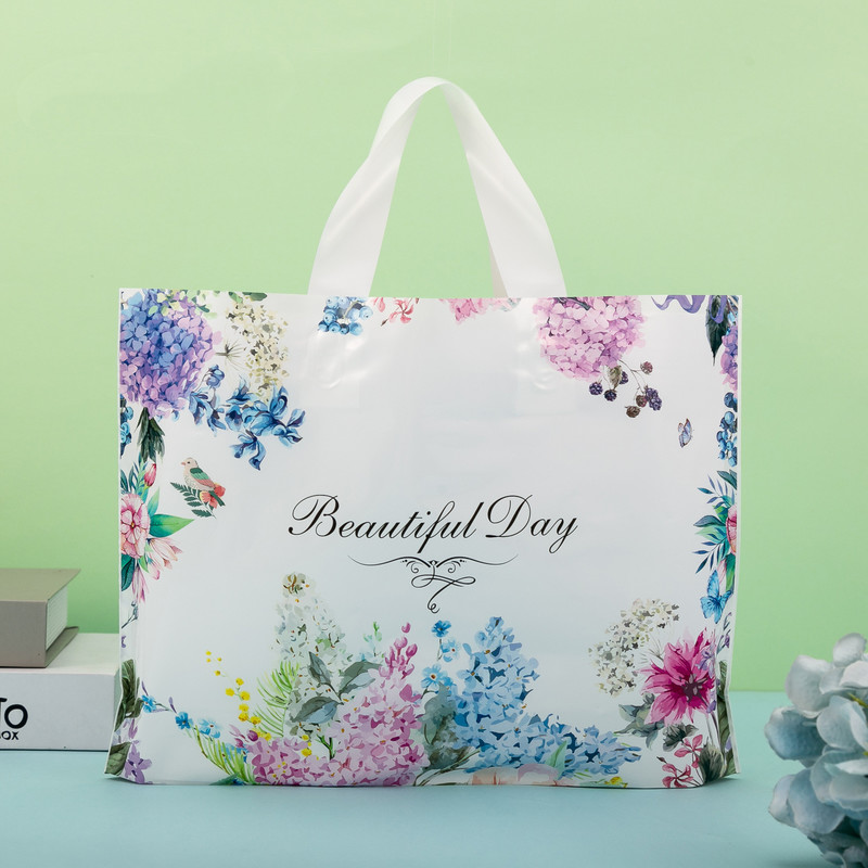 wedding : 50pcs Thicker Large Plastic Bag Simple and Fresh with Handles Clothing Store Shopping Bag Wedding Gift Jewelry Packaging Bag