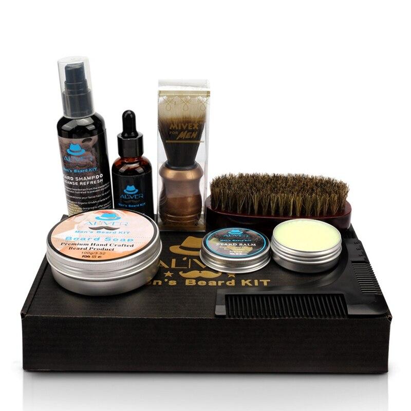 Kit para Homem Barba Grooming Profissional Aparamento Conjunto 2020 Quente Cuidados Presente 7-em-1 Kit