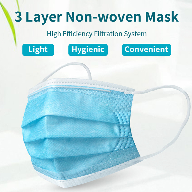 Children Face Masks 3 Layer Elastic Mouth Mask Anti-Flu Kids Disposable Mask Soft Breathable PM2.5 Nonwoven Blue Boys Dropship 3