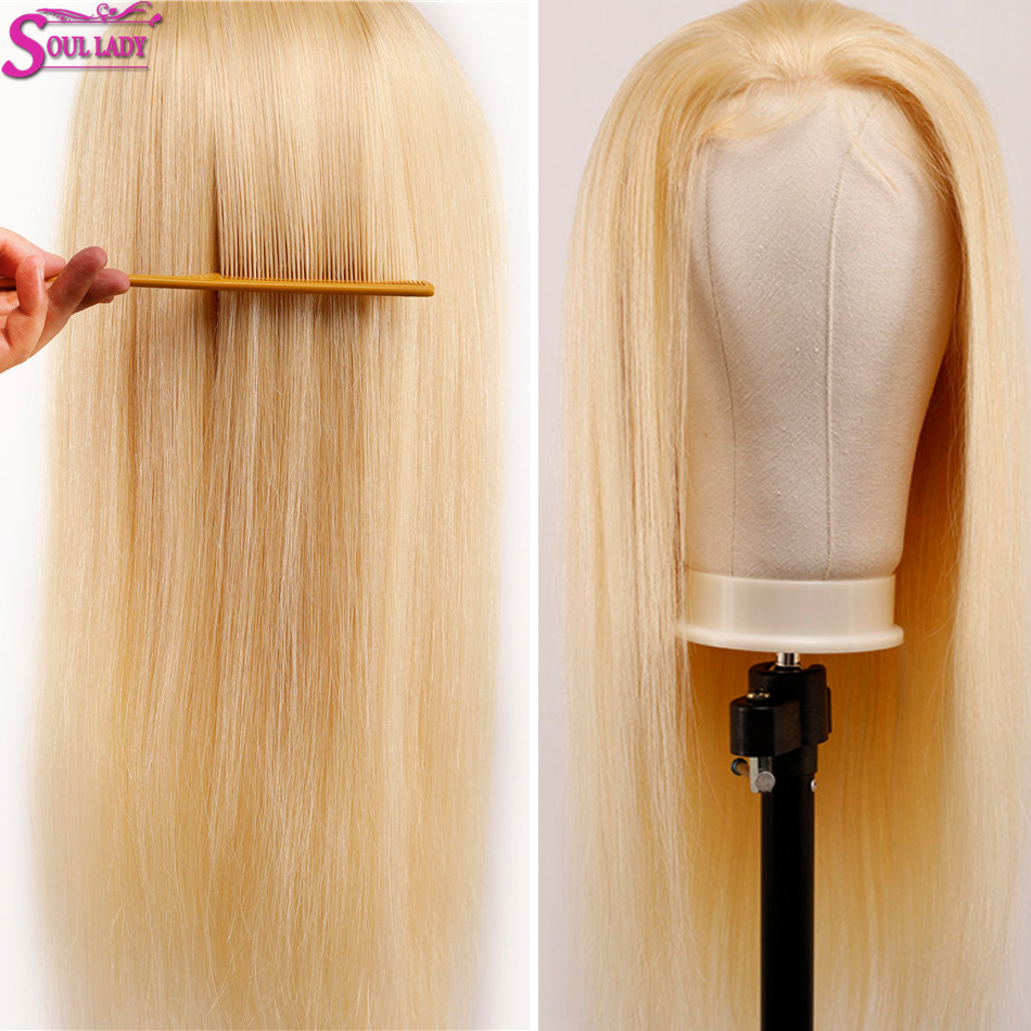 Soul Lady Platinum Blonde Glueless 13*4 Lace Front Wig 613 Frontal Wig Remy Brazilian Straight 613 Human Hair Wigs 180% Density - 3