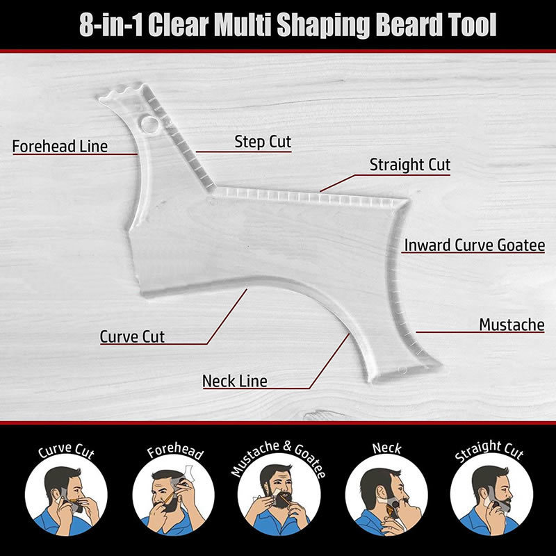Image 5 - New Arrivals Men Beard Shaping Styling Template Comb Transparent Men's Beards Combs Beauty Tool for Hair Beard Trim Templates-in Combs from Beauty & Health