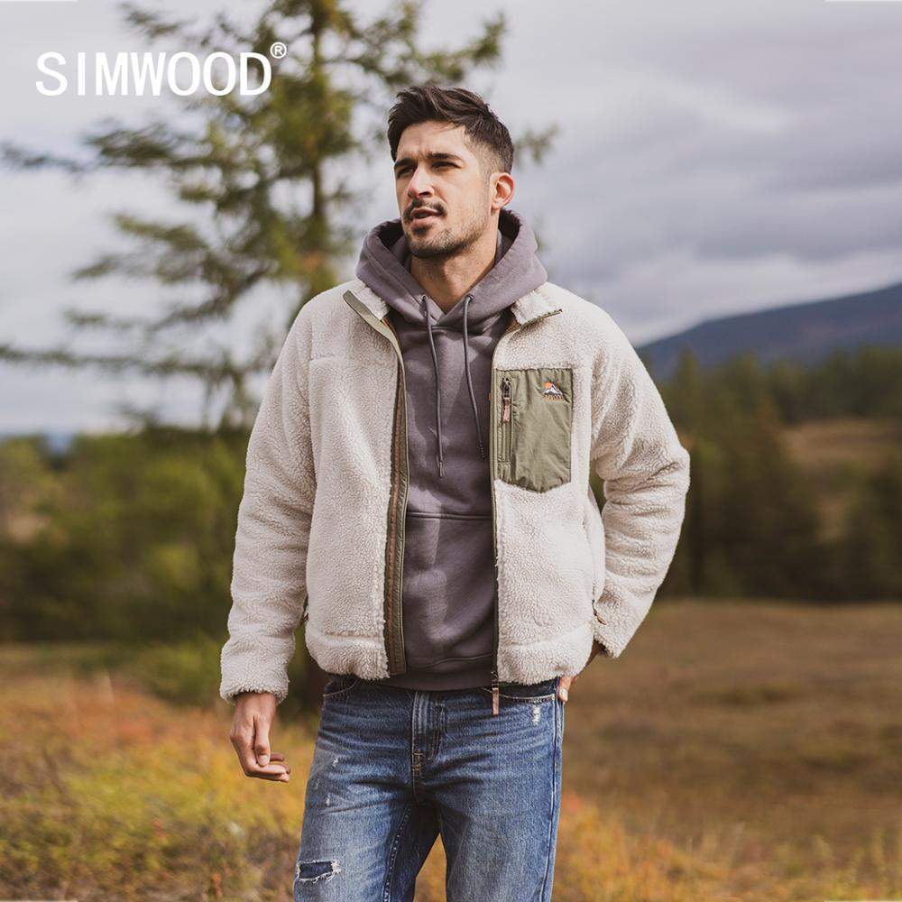SIMWOOD 2019 Autumn Winter New Panelled Fleece Jacket Men Plus Size Sherpa Teddy Jacket High Quality Plus Size Coats SI980742