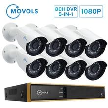 MOVOLS 1080P 8CH DVR 8 sztuk 2MP Night Vision system kamer bezpieczeństwa wewnątrz/na zewnątrz zestaw cctv wodoodporny system monitoringu wizyjnego