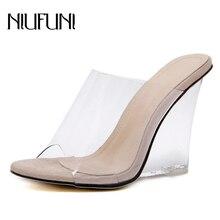 סקסי 2 צבעים שקוף קריסטל נשים של נעלי 2020 עקב טריז נעלי שקופיות גבוהה עקבים נשים נעלי אופנה סנדלי טריז