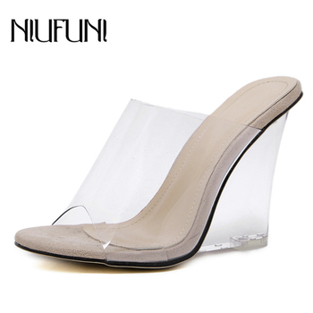 Sexy 2 Colors Transparent Crystal Women's Slippers 2020 Wedge Heel Shoes Slides High Heels Women Shoes Fashion Wedge Sandals