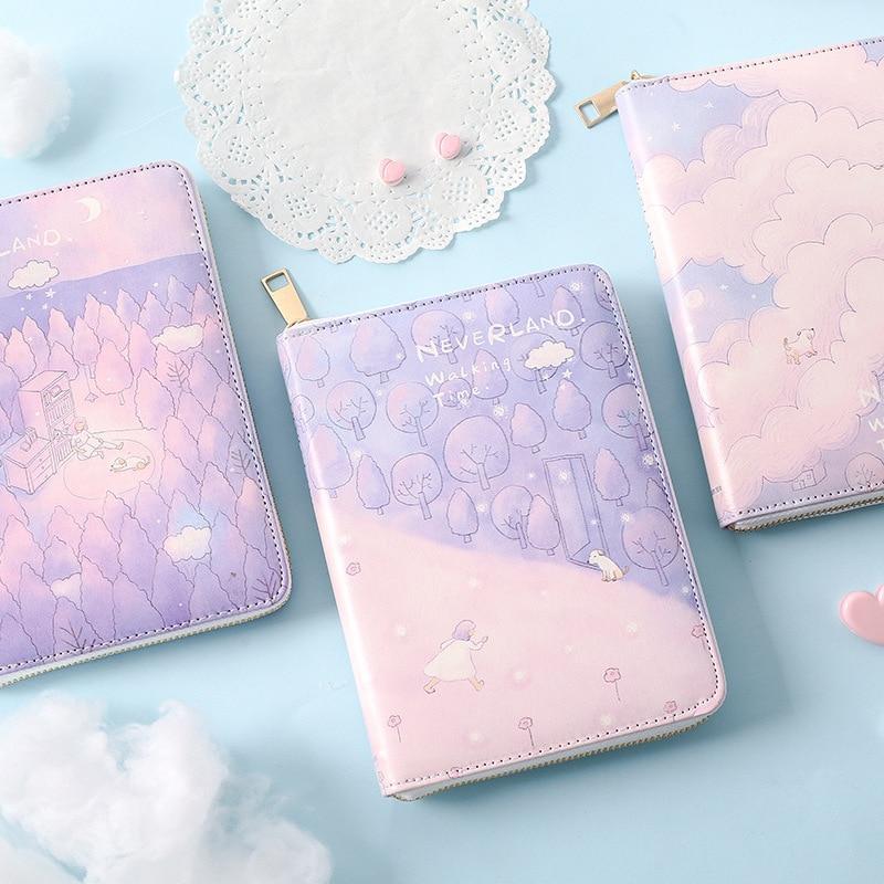 2020 New Cute Zipper Leather School Student Cartoon Diary Notebooks Kawaii Girls Agenda Planner Organizer Stationery Gift