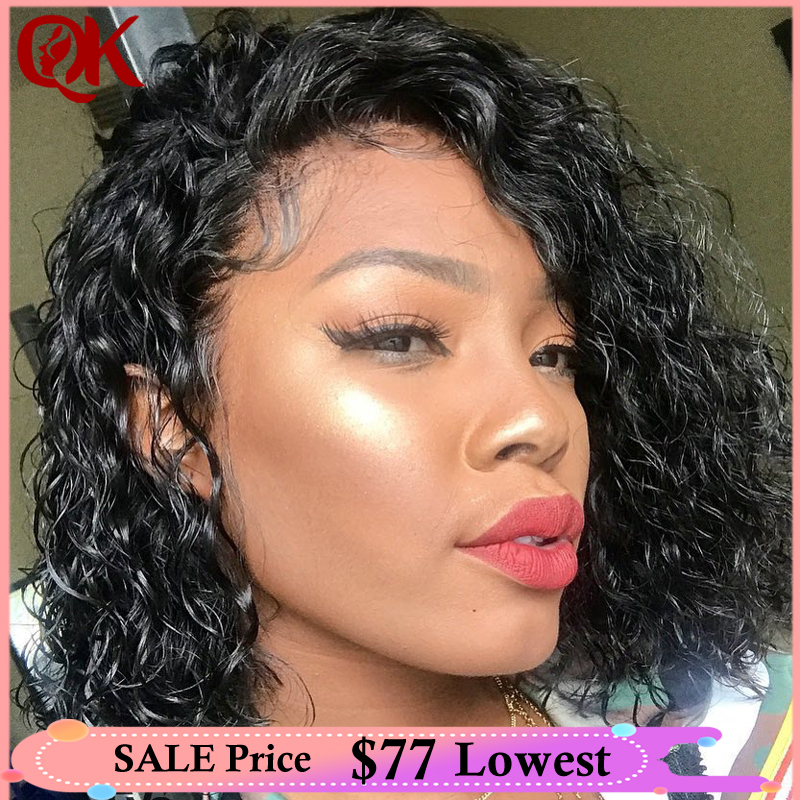 QueenKing Hair Lace Front Wig 250% Density Bob Wig Curly Free Part Preplucked Natural Hairline Brazilian Human Remy Hair