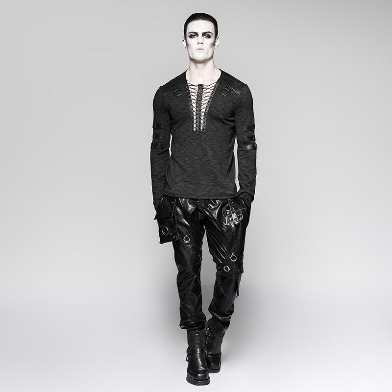 Punk Rave Men's Gothic Steampunk Long Sleeve T shirt Chest Strap Deep V neck Sexy Tops Steampunk Street Cool T shirt - 4