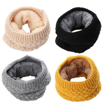 Women Girls Winter Knit Warmer Neck Collar Circle Wrap Cowl Loop Snood Wool Scarf Black Red Pink Multicolor image