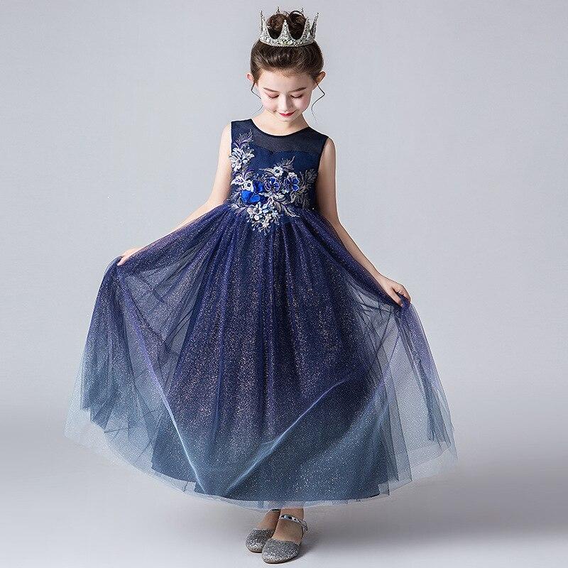 Summer Boy's Formal Dress Girls Long Dress Princess Dress Children Kindergarten Performance Host Clothing Royal Blue