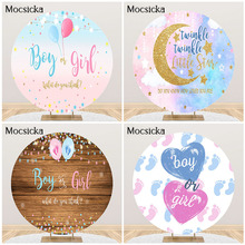 Mocsicka Boy or Girl Gender Reveal Party Backdrop Blue Pink Dots Balloon Background Boy or Girl Party Round Circle Cover Banner