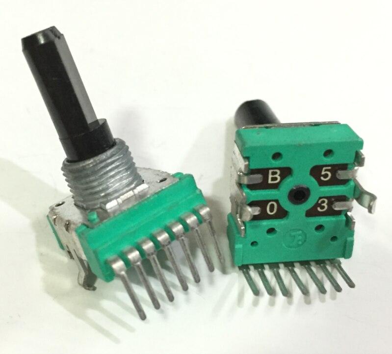 2 шт., двойной потенциометр RK14 7P B50K, длина вала 20 мм, двухканальный потенциометр громкости
