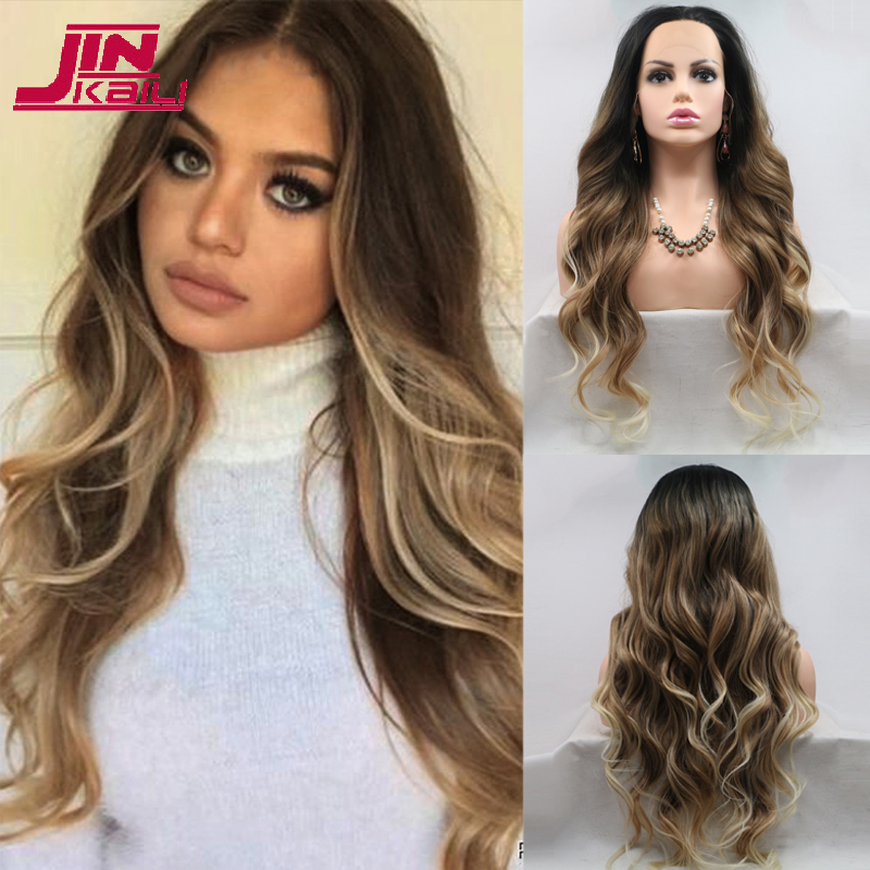 JINKAILI Long Synthetic Lace Front Natural Wave Brown Golden Blonde Ombre Hair Wig Daily Wear Wigs For White /Black Women