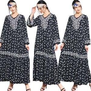 Fashion Abaya Floral Printed Muslim Women Long Dress Embroidery Loose Maxi Robe Flare Sleeve Arab Gown Caftan Party Jilbab Islam