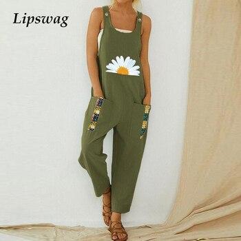 Women Print Cotton Linen Retro Jumpsuit 2020 Summer Elegant Button Strappy Backless Bodysuit Sexy Pocket Loose Trousers Romper