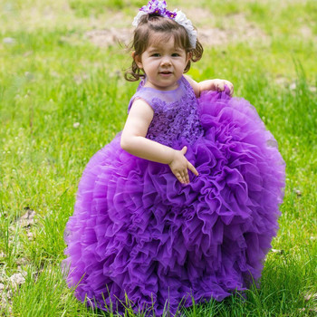 2020 New Girl Purple Pink Pageant Dresses Toddler Sheer Crew Neck Lace Appliques Ball Gown Princess Cute Baby Girl Flower Dress arabic 2018 sheer neck lace appliques flower girl dresses for wedding sleeveless pearl backless tulle little girl pageant dress