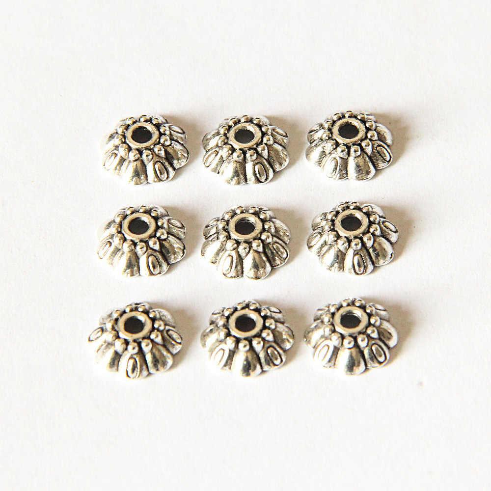 1Pcs 9.1 Millimetri D'argento Tibetani di Stile a Cinque Petalo di Fiore Incisione Toro Accessori per Gioielli Fai da Te Che Fanno Commercio All'ingrosso 2127