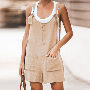 Adisputent 2020 Summer Jumpsuit Women Romper Cotton And Linen Sleeveless Suspender Buttons Pocket Shorts Casual Loose Suspenders 3