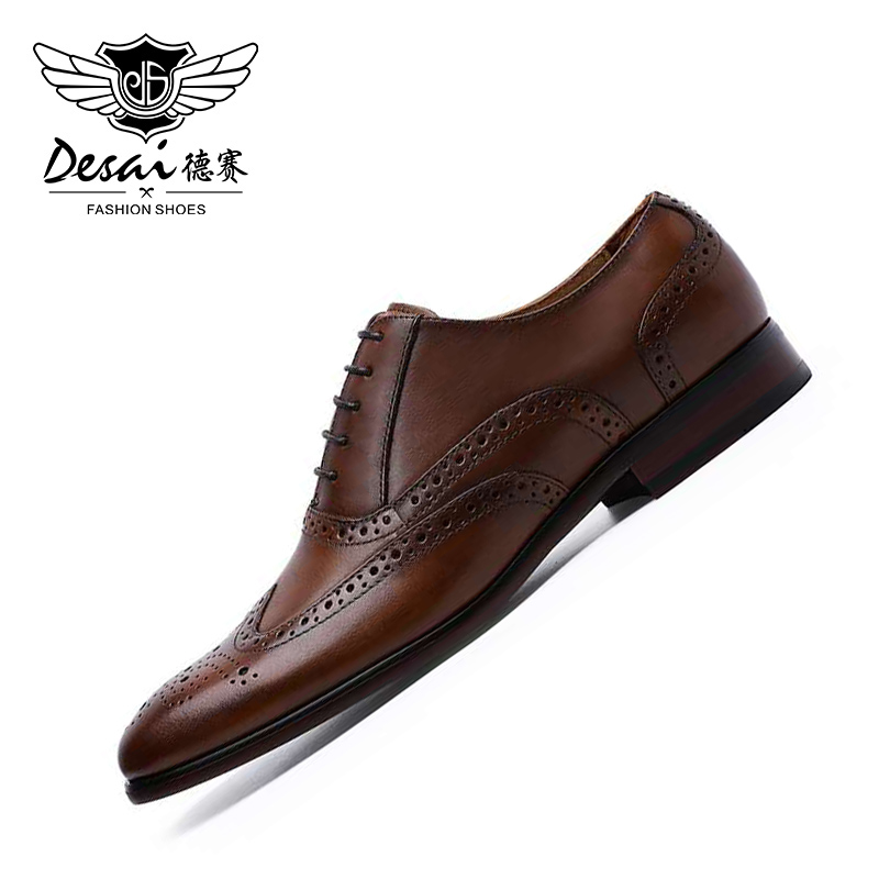 DESAI First Layer Cow Leather Oxford Dress Shoes For Men Cap Toe Lace Up 2020 Outdoor Hiking Office High Quality