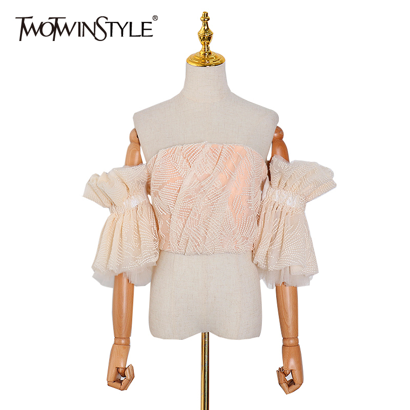 TWOTWINSTYLE Strapless Shirt Women Off Shoulder Embroidery Ruffle Flare Sleeve Sexy Short Blouse Female Fashion 2020 Clothes New