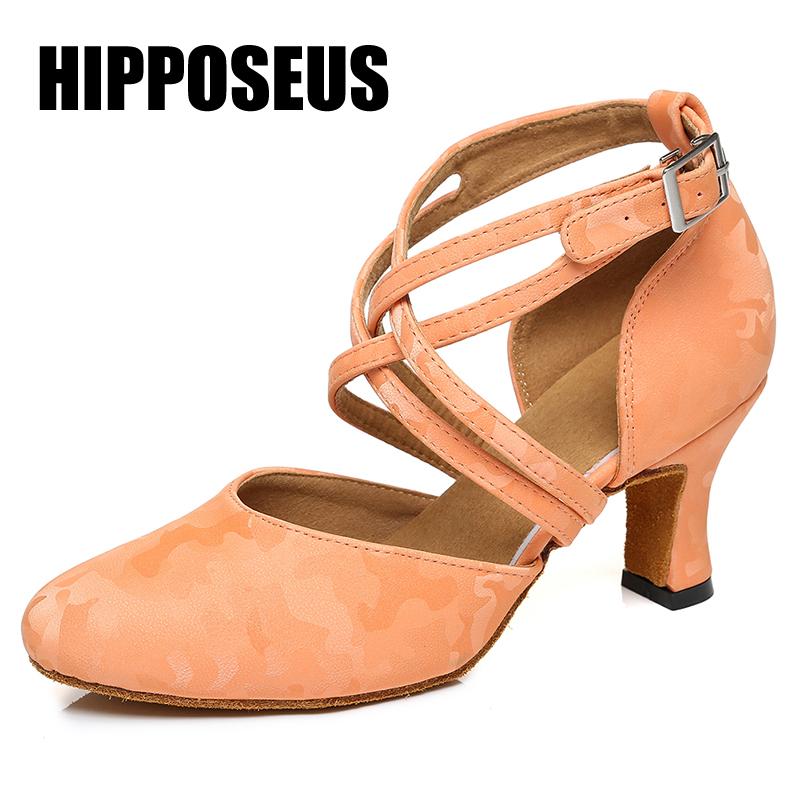 HIPPOSEUS Ballroom Girls Modern Dance Shoes Women Latin Dance Shoes Ladies Tango Dancing Shoes Salsa Sandals Black High Heels