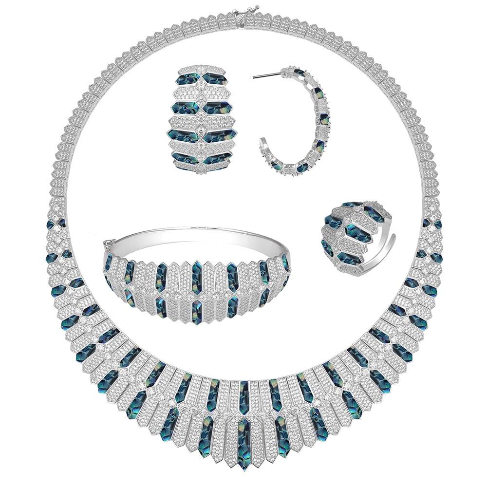 Bride Talk Luxury Unique Dubai Jewelry Copper Necklace Sets Shine Shell Design For Women Zircon Jewellery Nigerian Bridal Sets - 6