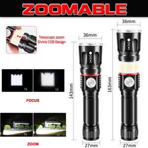 Image 2 - 5000LM ไฟฉาย LED มัลติฟังก์ชั่น L2 T6 แบตเตอรี่ชาร์จ USB ที่มีประสิทธิภาพ COB ไฟฉาย linterna หางแม่เหล็กทำงาน