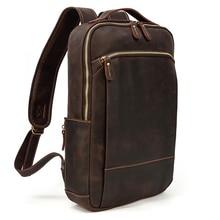 MAHEU Vintage Backpack Genuine Leather Men's travel bagapck 16 inch laptop bagpack travel bag with belt on luggage school bag