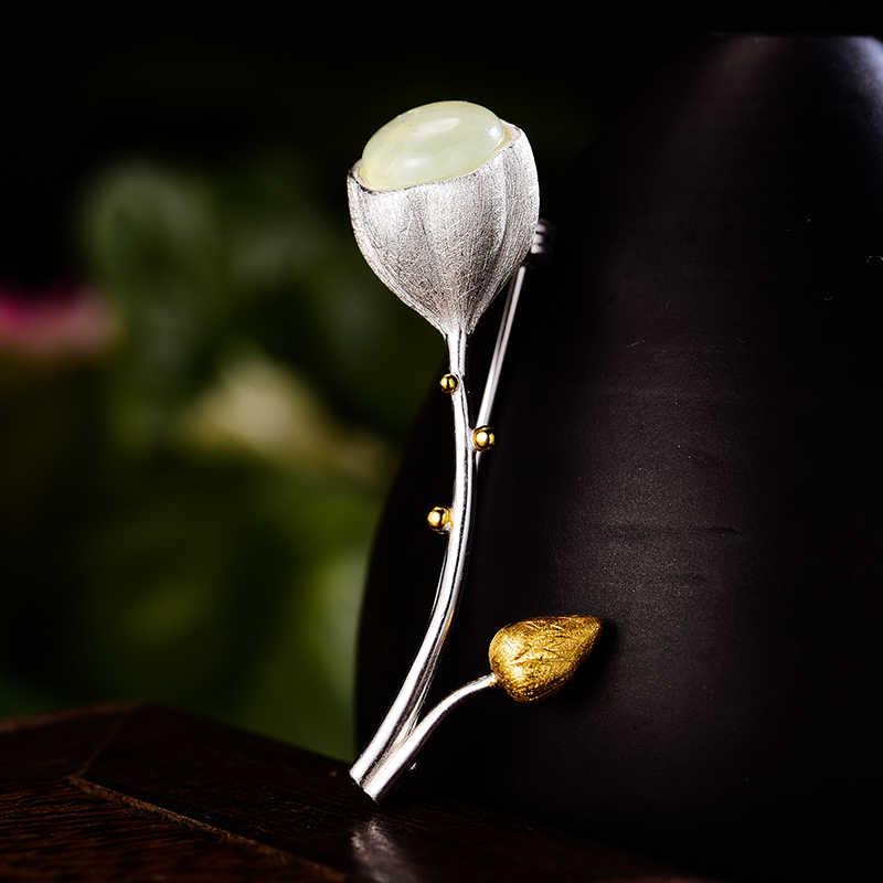 Lotus สนุกจริง 925 เงินสเตอร์ลิงหินธรรมชาติ Handmade Designer Fine เครื่องประดับ Elegant Lotus Buds สำหรับผู้หญิง Bijoux