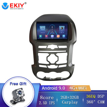 EKIY Android 9.0 Auto Car Radio For Ford Ranger F250 2011 2012-2015 GPS Navigation 2Din IPS Screen DSP DVD Multimedia Player image