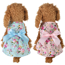 Summer Cotton Dog Dress Clothes Streamer Princess for Small Wedding Bow Tie Fashion Floral Pet