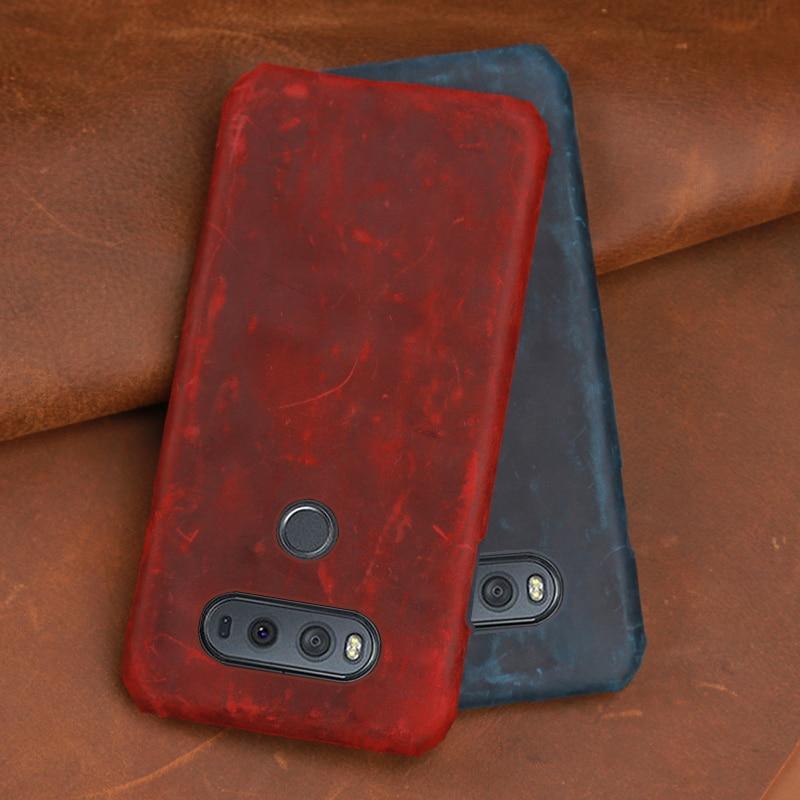 Crazy horse pele Caixa Do Telefone Para LG V10 V20 V30 V40 V50 ThinQ G3 G4 G5 G6 G7 G8s ThinQ K40 K50 Q7 Q6 Q Stylo4 tampa Traseira