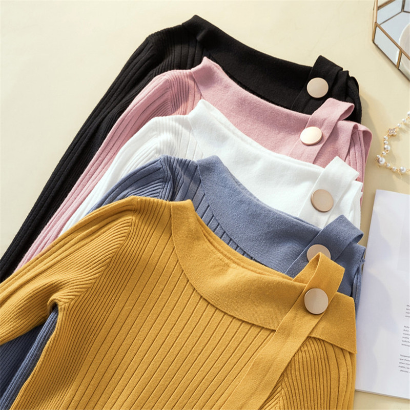 Women Casual Pullover Sweater Fashion Irregular Neck Long Sleeve Slim Fit Top Solid Color Jumper Female Autumn Knitted Sweater