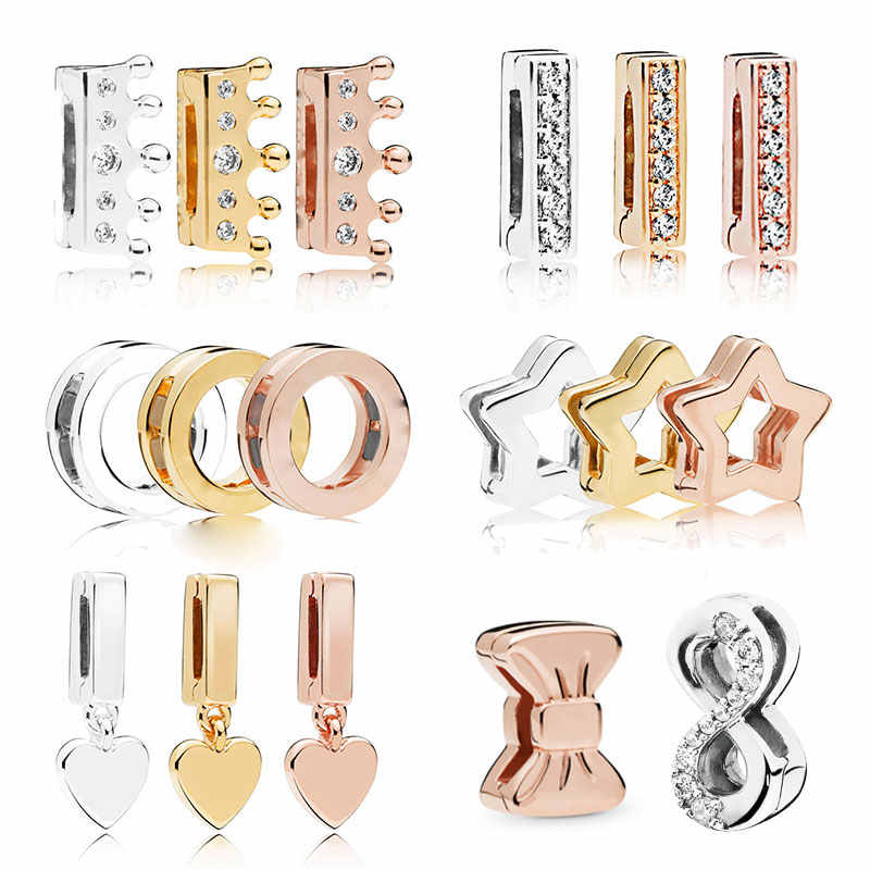 FEOLEO Genuine 925 Sterling Silver Clip Charms fit Original Pandora Reflexions Bracelets for Women Rose Gold Color Jewelry