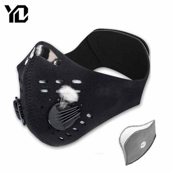 Activated Carbon Breathable Cycling Mouth Face Mask Filter Dust Windproof Protective Black Face Mask MTB Bike Bicycle Face Mask
