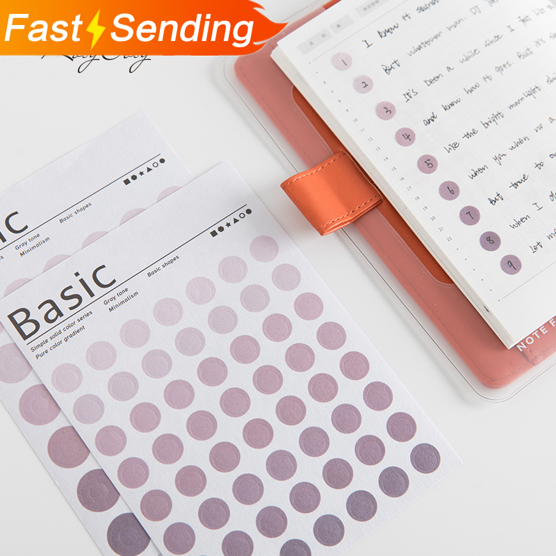 JIANWU Simple 6 Color Feature Circle Index Sticker Calendar Remarks Planner Sticker Decorative Paper Sticker School Supplies