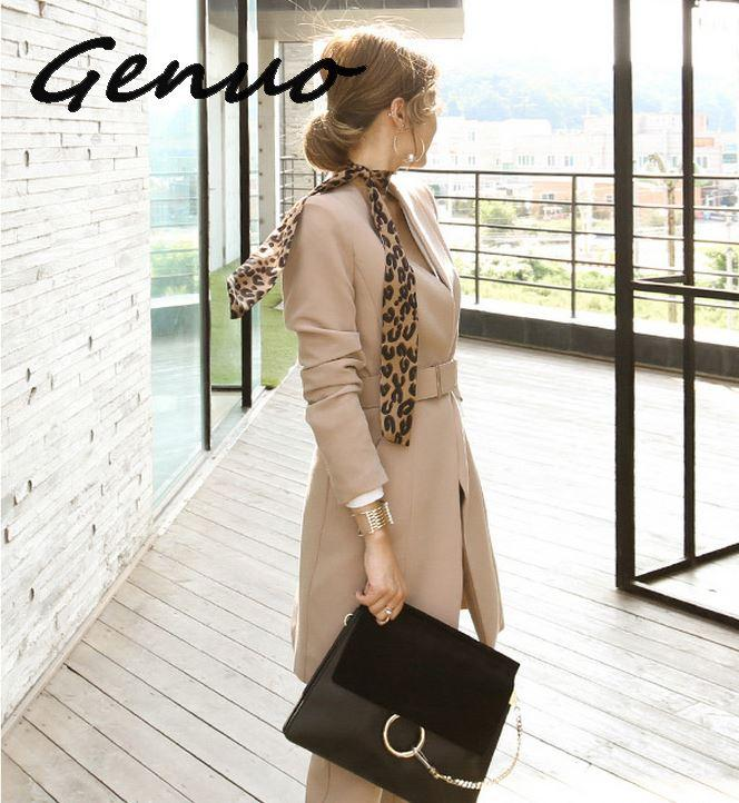 Genuo New 2019  Business Ladies women two piece outfits  Formal OL style Elegant Skinny Long Blazer Pants Two Pieces Sets