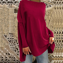 Casual solto camiseta feminina inverno cor sólida pullovers senhoras o-pescoço cheio de manga bating bolso topos femme camisa longa t