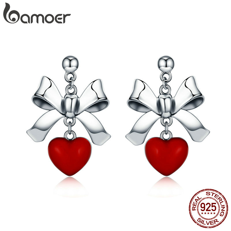 BAMOER Sweet New 100% 925 Sterling Silver Red Heart With Bowknot Female Stud Earrings For Women Sterling Silver Jewelry SCE355