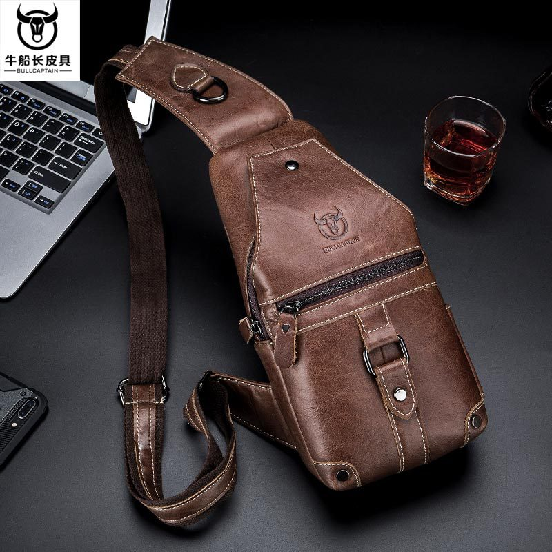 Bull Captain Leather Goods Genuine Leather Men's Shoulder Chest Pack Retro Full-grain Leather Large Capacity Soft Leather Bag Ch