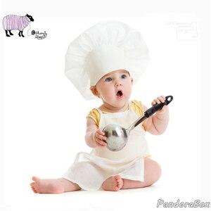 Реквизит для фотосъемки новорожденных, наряды для маленьких мальчиков и девочек, фотосессия, шляпа шеф-повара, комплект детской одежды, акс...