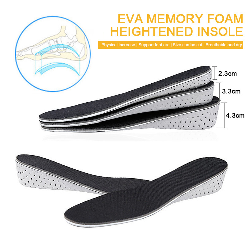 Height Increase Insoles For Men/women 2/3/5 Cm Up Invisiable Arch Support Orthopedic Insoles Memory Foam Shock Absorption Black