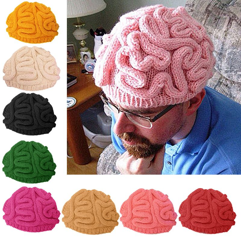 Funny Handmade Crochet Knit Beanie Hat Adult Kids Winter Horrible Brain Solid Color Skull Cap Halloween Cosplay Props