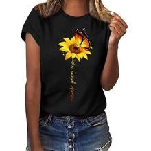 New Women T-shirt Live A Little Sunflower Short Sleeve O-neck T-shirt Femalet Blose Ladies