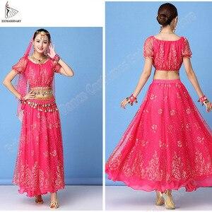 Image 4 - Bollywood Kleid Kostüm Frauen Set Indischen Tanz Sari Bauchtanz Outfit Leistung Kleidung Chiffon Top + Gürtel + Rock