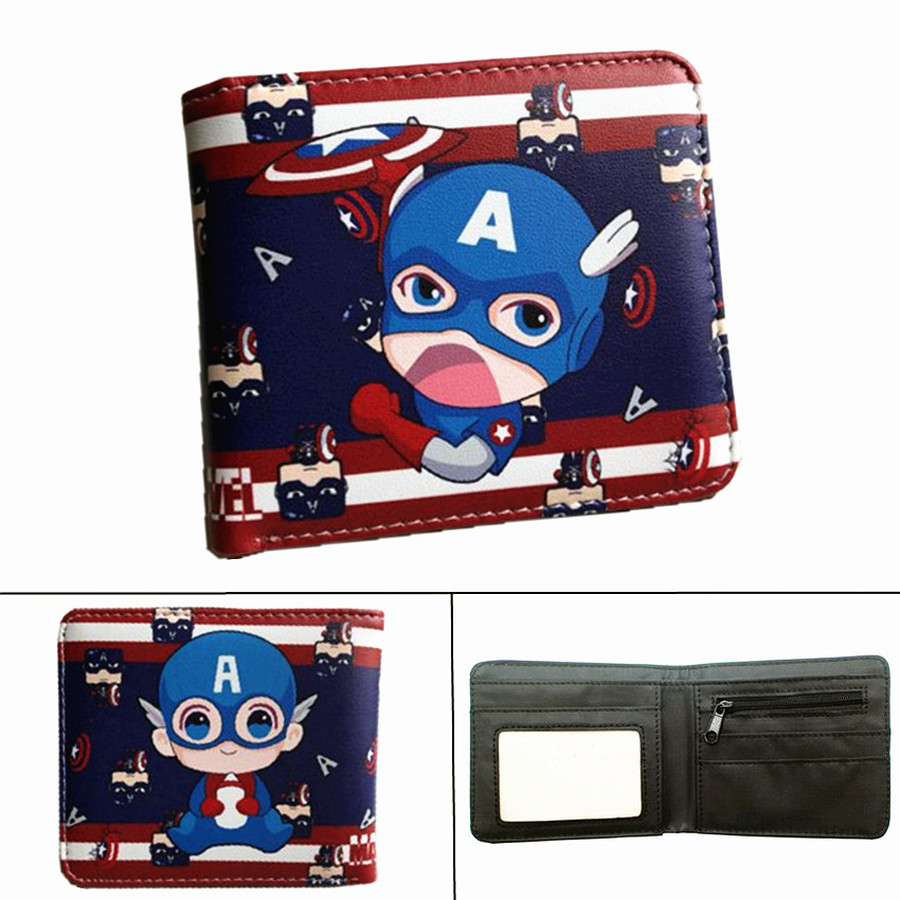 Superhero Captain America Leather Wallet Short Bifold Photo Card Holder Layers Boys Girls Student Pu Cosplay Cartoon Purses Gift