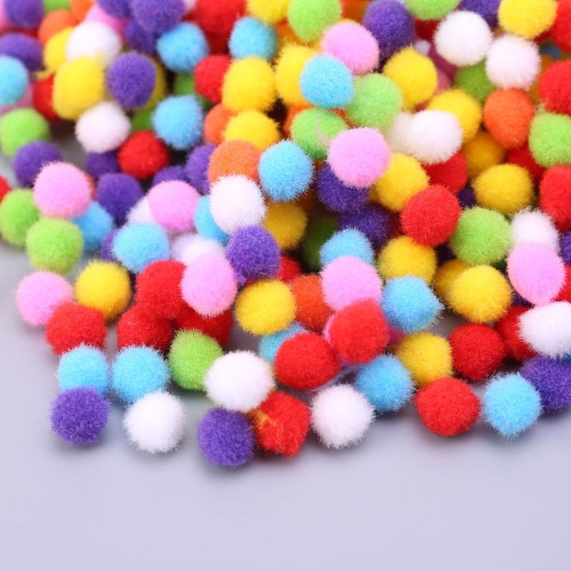 1000Pcs Soft Round Fluffy Craft PomPoms Ball Mixed Color Pom Poms 12mm DIY Craft