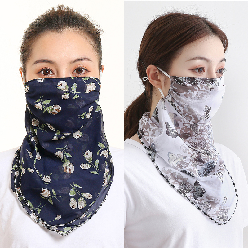 Chiffon Face Mask Women Mascarillas Sun Protection Scarves Neck Cover Solid Print Foulard Femme Riding Mouth Scarf Ring Bandana